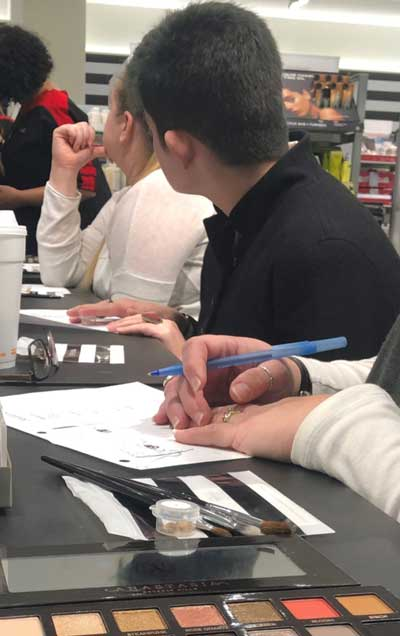 Student Isabel taking a class at a local Sephora